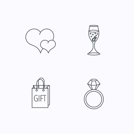 shopping champagne: Love heart, gift bag and wedding ring icons. Engagement linear sign. Flat linear icons on white background. Vector