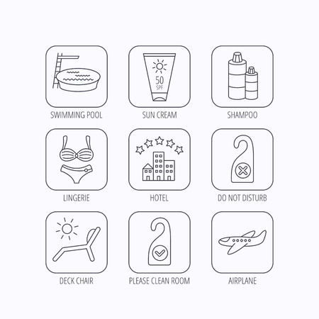 Hotel, swimming pool and beach deck chair icons. Sun cream, do not disturb and clean room linear signs. Shampoo and airplane icons. Flat linear icons in squares on white background. Vector Illustration