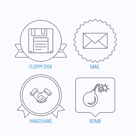 email bomb: Mail, bomb and handshake icons. Floppy disk linear sign. Award medal, star label and speech bubble designs. Vector