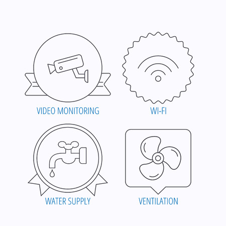 water supply: Wifi, video camera and ventilation icons. Water supply linear sign. Award medal, star label and speech bubble designs. Vector Illustration