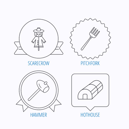 hothouse: Hammer, hothouse and scarecrow icons. Pitchfork linear sign. Award medal, star label and speech bubble designs. Vector