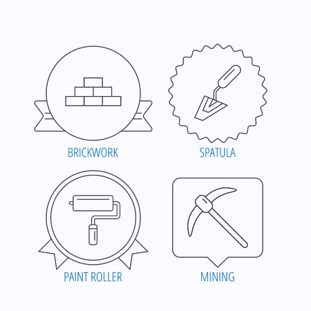 mining icons: Brickwork, spatula and mining icons. Paint roller linear sign. Award medal, star label and speech bubble designs. Vector