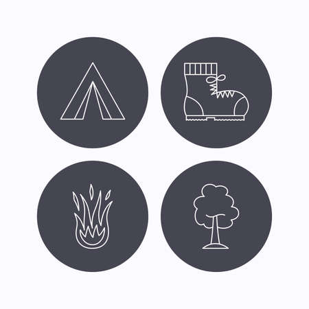 wooden trail sign: Maple tree, camping tent and hiking boots. Fire flame linear sign. Flat icons in circle buttons on white background. Vector Illustration