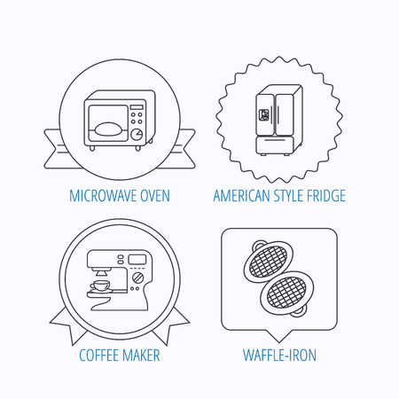 sign maker: Microwave oven, waffle-iron and American style fridge icons. Coffee maker linear sign. Award medal, star label and speech bubble designs. Vector