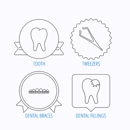 tweezers: Dental braces, fillings and tooth icons. Tweezers linear sign. Award medal, star label and speech bubble designs. Vector