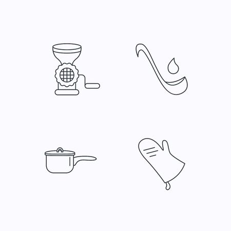 meat soup: Soup ladle, potholder and kitchen utensils icons. Meat grinder and saucepan linear signs. Flat linear icons on white background. Vector