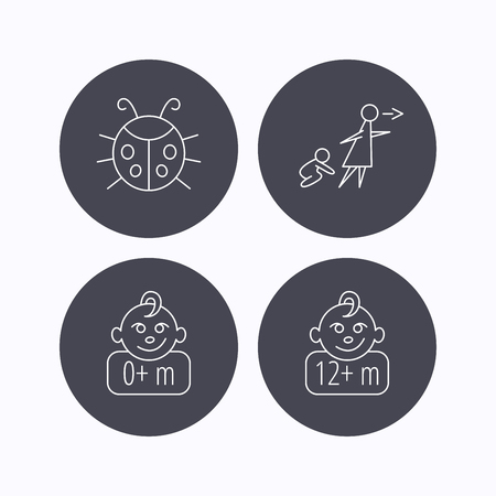 unattended: Infant child, ladybug and 0+ months child icons. Unattended child linear sign. Flat icons in circle buttons on white background. Vector