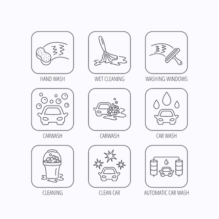 washing windows: Car wash icons. Automatic cleaning station linear signs. Washing windows, sponge and foam bucket flat line icons. Flat linear icons in squares on white background. Vector
