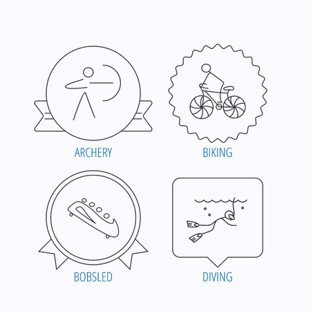 bobsled: Diving, biking and archery icons. Bobsled linear sign. Award medal, star label and speech bubble designs. Vector