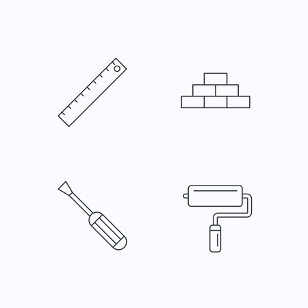 brickwork: Screwdriver, ruler and paint roller icons. Brickwork linear sign. Flat linear icons on white background. Vector Illustration