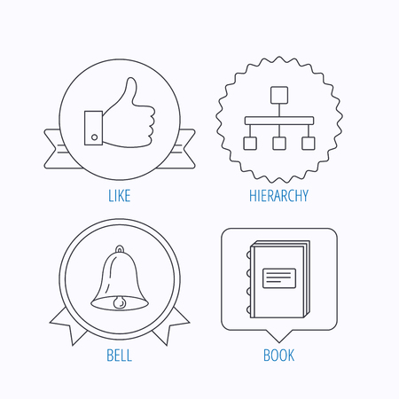 medal like: Hierarchy, like and bell icons. Book linear sign. Award medal, star label and speech bubble designs. Vector