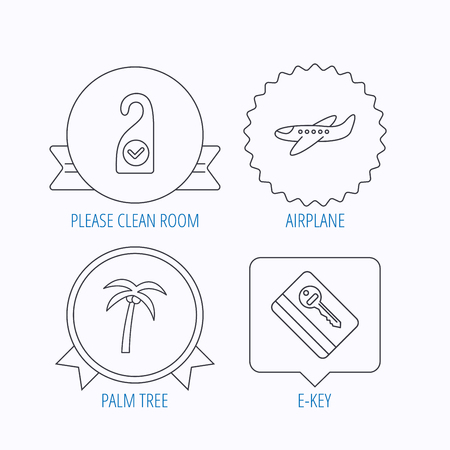 5 door: Palm tree, air-plane and e-key icons. Clean room linear sign. Award medal, star label and speech bubble designs. Vector