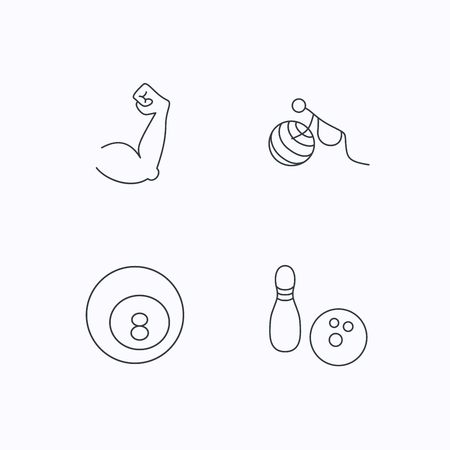 pregnancy exercise: Billiards, bowling and fitness sport icons. Muscle, gymnastics for pregnant linear signs. Flat linear icons on white background. Vector Illustration
