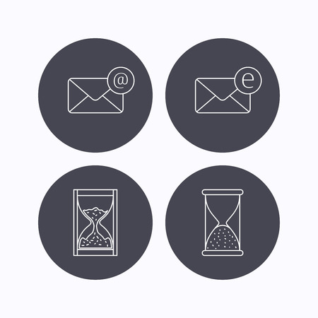 Mail, e-mail and hourglass icons. E-mail inbox linear sign. Flat icons in circle buttons on white background. Vector Illustration