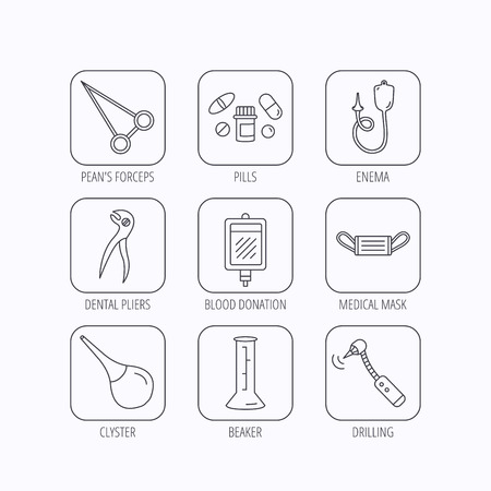 enema: Medical mask, blood and dental pliers icons. Pills, drilling tool and clyster linear signs. Enema, lab beaker and forceps flat line icons. Flat linear icons in squares on white background. Vector