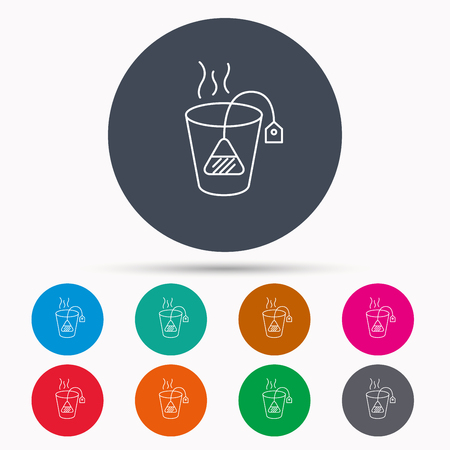 ceylon: Tea bag icon. Natural hot drink sign. Breakfast beverage symbol. Icons in colour circle buttons. Vector