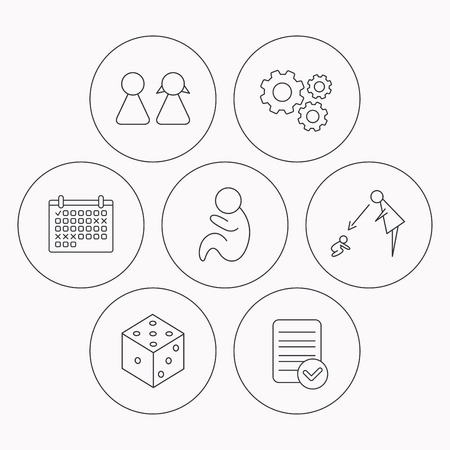 supervision: Couple, paediatrics and dice icons. Under supervision linear sign. Check file, calendar and cogwheel icons. Vector Illustration