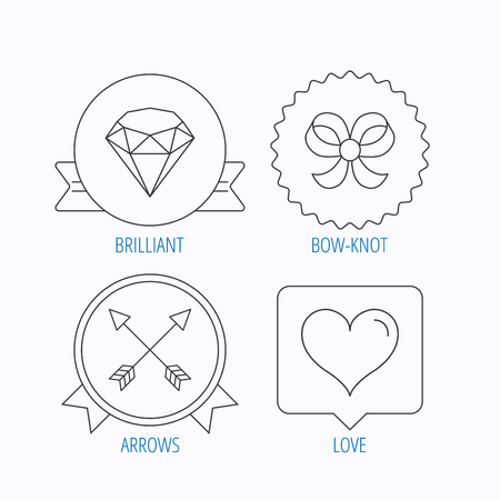 brilliant heart: Love heart, brilliant and bow-knot icons. Arrows linear signs. Award medal, star label and speech bubble designs. Vector