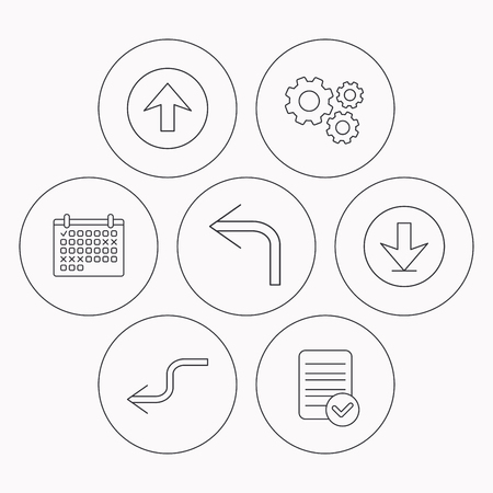 shuffle: Arrows icons. Download, upload and shuffle linear signs. Turn left, back arrow flat line icons. Check file, calendar and cogwheel icons. Vector Illustration