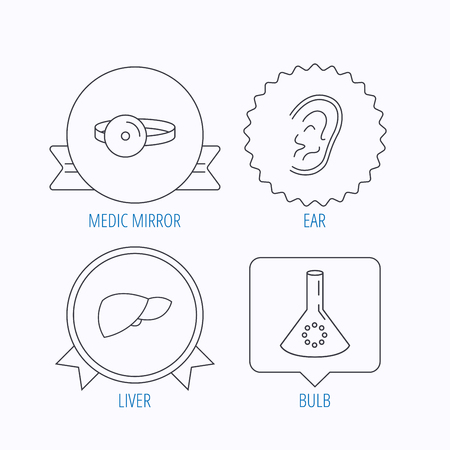 analyses: Lab bulb, medical mirror and liver organ icons. Ear linear sign. Award medal, star label and speech bubble designs. Vector