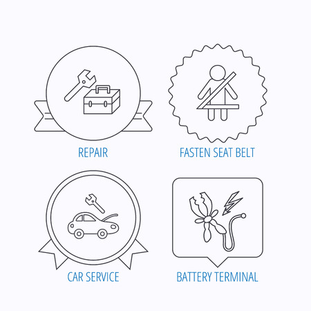 fasten: Repair, battery terminal and car service icons. Fasten seat belt linear sign. Award medal, star label and speech bubble designs. Vector Illustration