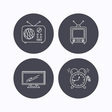 tv retro: TV, retro radio and alarm clock icons. Widescreen TV linear sign. Flat icons in circle buttons on white background. Vector