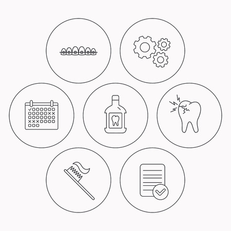 mouthwash: Toothache, dental braces and mouthwash icons. Toothbrush linear sign. Check file, calendar and cogwheel icons. Vector