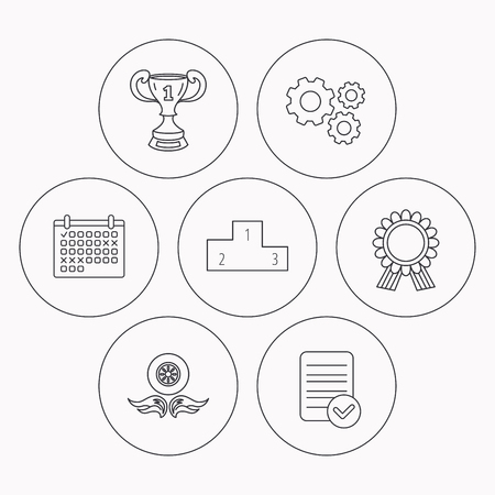 race winner: Winner cup, podium and award medal icons. Race symbol, wheel on fire linear signs. Check file, calendar and cogwheel icons. Vector Illustration