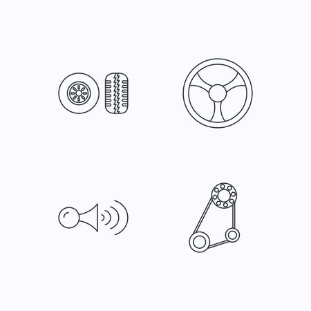 tread: Klaxon signal, tire tread and steering wheel icons. Generator belt linear sign. Flat linear icons on white background. Vector Illustration