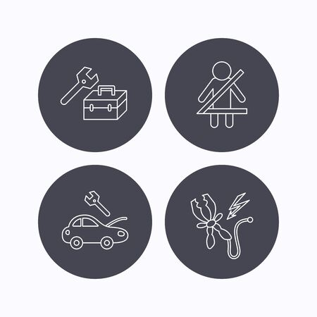 to fasten: Repair, battery terminal and car service icons. Fasten seat belt linear sign. Flat icons in circle buttons on white background. Vector Illustration