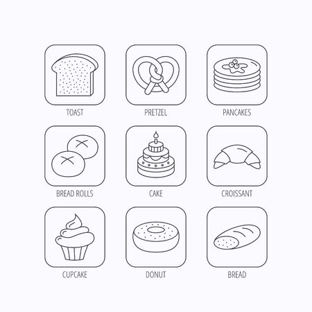 bread rolls: Croissant, pretzel and bread icons. Cupcake, cake and sweet donut linear signs. Pancakes, toast and bread rolls flat line icons. Flat linear icons in squares on white background. Vector Illustration