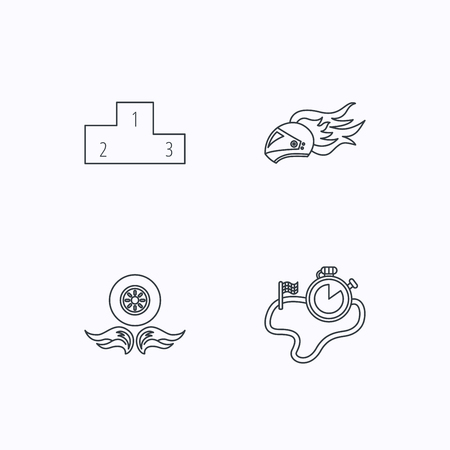 race winner: Winner podium, race timer and wheel on fire icons. Motorcycle helmet on fire linear sign. Flat linear icons on white background. Vector