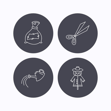 crop circle: Scissors, watering can and watering can icons. Bag of fertilizer linear sign. Flat icons in circle buttons on white background. Vector Illustration