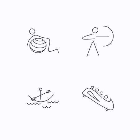 black white kayak: Gymnastics, boating and archery icons. Bobsled linear sign. Flat linear icons on white background. Vector