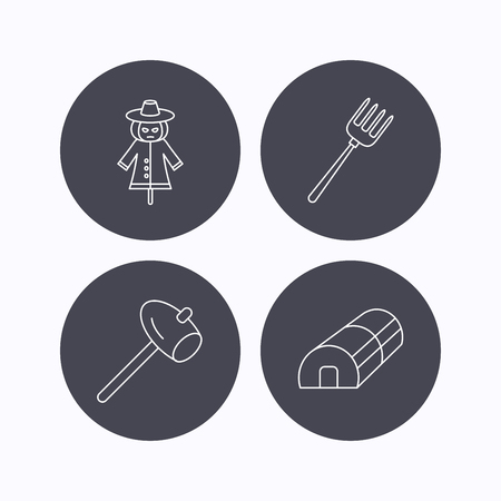 hothouse: Hammer, hothouse and scarecrow icons. Pitchfork linear sign. Flat icons in circle buttons on white background. Vector