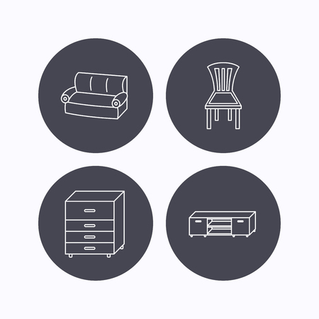 chest of drawers: Sofa, chair and chest of drawers icons. TV table linear sign. Flat icons in circle buttons on white background. Vector