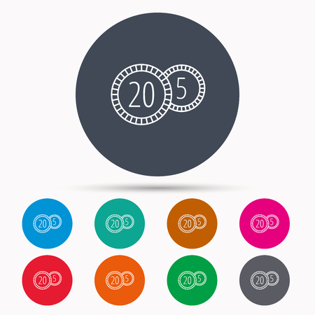 five cents: Coins icon. Cash money sign. Bank finance symbol. Twenty and five cents. Icons in colour circle buttons. Vector