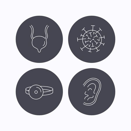 urinary: Virus, urinary bladder and ear icons. Medical mirror linear signs. Flat icons in circle buttons on white background. Vector