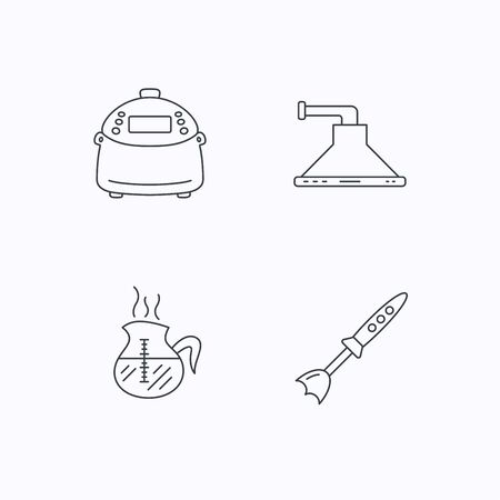 coffee blender: Coffee, kitchen hood and blender icons. Multicooker linear sign. Flat linear icons on white background. Vector