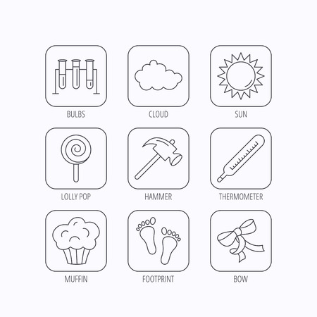 analyses: Footprint, lab bulbs and thermometer icons. Muffin, bow and lolly pop linear signs. Cloud and sun flat line icons. Flat linear icons in squares on white background. Vector Illustration