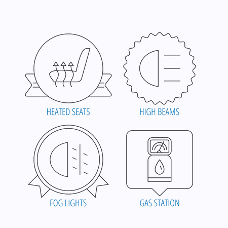 heated: Petrol station, fog lights and heated seats icons. Gas fuel station linear sign. Award medal, star label and speech bubble designs. Vector