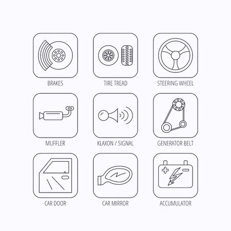 brakes: Accumulator, brakes and steering wheel icons. Generator belt, klaxon signal and car mirror linear signs. Door icon. Flat linear icons in squares on white background. Vector Illustration