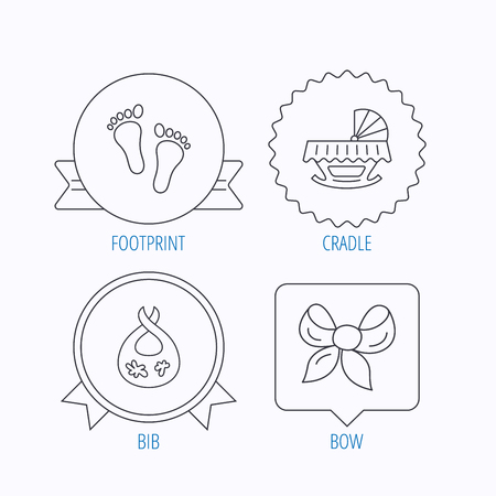 dirty feet: Footprint, cradle and dirty bib icons. Bow linear sign. Award medal, star label and speech bubble designs. Vector Illustration