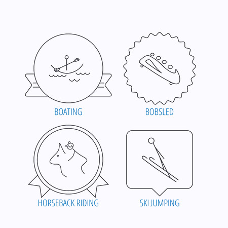 bobsled: Boating, horseback riding and bobsled icons. Ski jumping linear sign. Award medal, star label and speech bubble designs. Vector