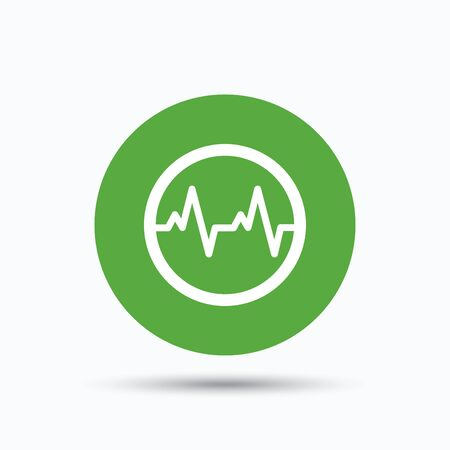 green medical sign: Heartbeat icon. Cardiology symbol. Medical pressure sign. Flat web button with icon on white background. Green round pressbutton with shadow. Vector