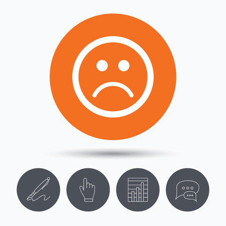 click button: Sad smiley icon. Bad feedback symbol. Speech bubbles. Pen, hand click and chart. Orange circle button with icon. Vector