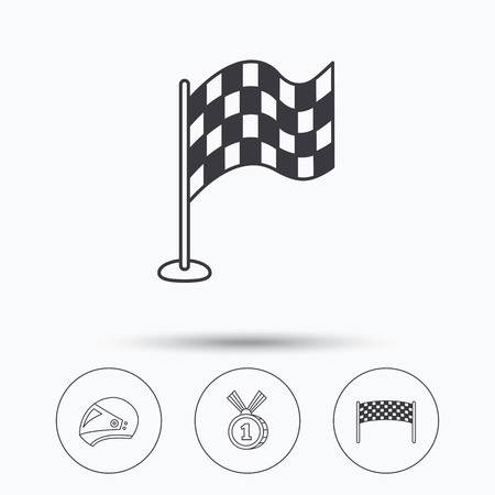 race winner: Race flag, checkpoint and motorcycle helmet icons. Winner award medal linear signs. Linear icons in circle buttons. Flat web symbols. Vector