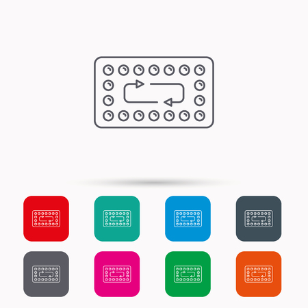 contraception: Contraception pills icon. Pharmacology drugs sign. Linear icons in squares on white background. Flat web symbols. Vector Illustration