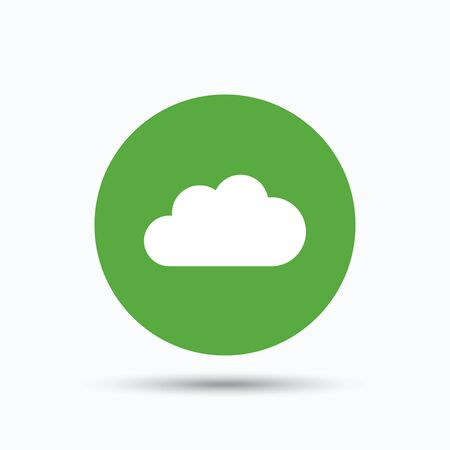 Cloud icon. Data storage technology symbol. Flat web button with icon on white background. Green round pressbutton with shadow. Vector