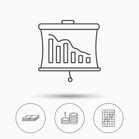 deceleration: Chart, cash money and statistics icons. Coins linear sign. Linear icons in circle buttons. Flat web symbols. Vector